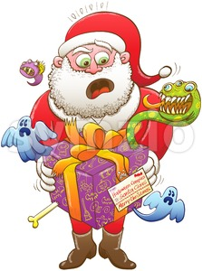 Weird Christmas gift from Halloween creepies to Santa Stock Vector
