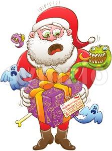 Weird Christmas gift from Halloween creepies to Santa Stock Vector