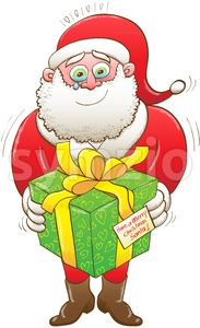 A touching Christmas present for Santa Claus Stock Vector