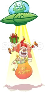 Alien kidnapping Santa Claus with its flying saucer Stock Vector