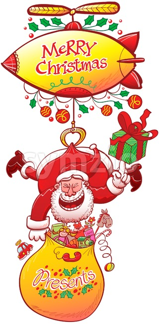 Santa delivering Christmas presents from a zeppelin Stock Vector