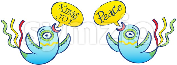 Christmas birds wishing peace and joy Stock Vector