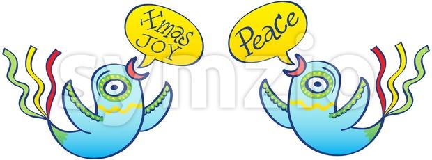 Christmas birds wishing peace and joy Stock Vector