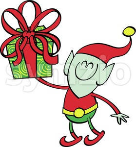 Green elf giving a Christmas present Stock Vector