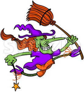 Halloween witch jumping and celebrating Stock Vector