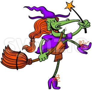 Joyful witch celebrating Halloween animatedly Stock Vector