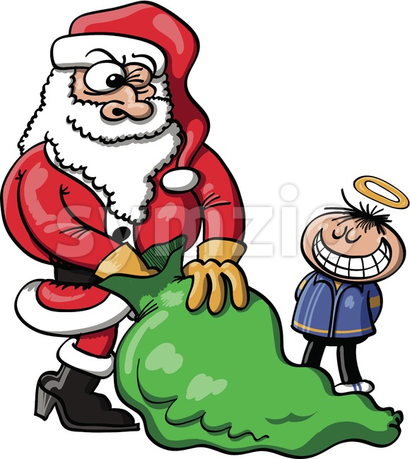 Santa choosing a Xmas gift for a good boy Stock Vector