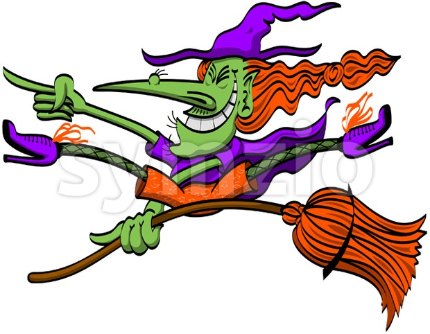 Crazy Halloween witch doing tricks on her broomstick Stock Vector