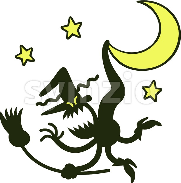 Witch grumbling when suspended from a crescent moon Stock Vector