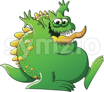 Mischievous green monster clowning around Stock Vector