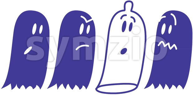 A mischievous condom hidden among ghosts Stock Vector