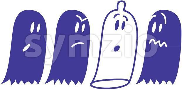 A mischievous condom hidden among ghosts Stock Vector