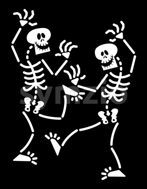 Halloween skeletons dancing animatedly Stock Vector