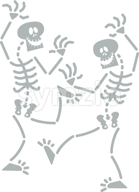 Halloween skeletons dancing frenetically Stock Vector