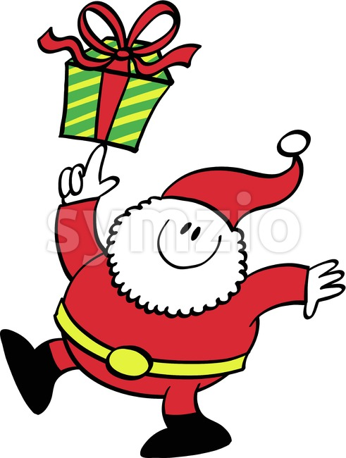 Cute Santa Claus bringing a Christmas gift Stock Vector