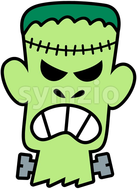 Angry Franky head clenching his teeth Stock Vector