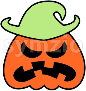 Angry Halloween scarecrow grumbling Stock Vector