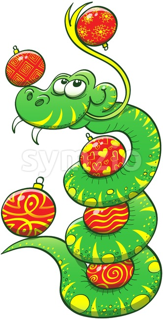 Green snake juggling Christmas baubles Stock Vector