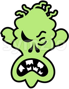 Scary Halloween zombie feeling angry Stock Vector