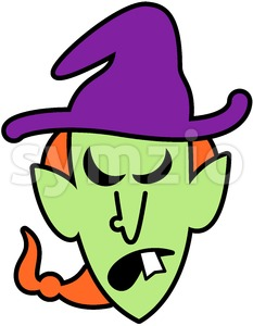 Angry Halloween witch plotting something evil Stock Vector