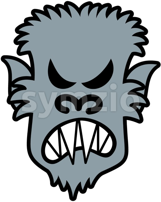 Halloween gray werewolf feeling angry Stock Vector