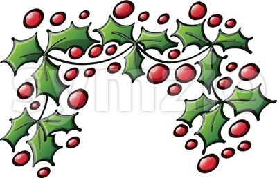 Xmas ornamental branch of evergreen holly tree Stock Vector