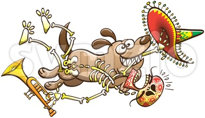 Mischievous dog running away with a skeleton in its mouth Stock Vector