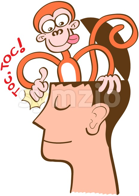 Monkey mind knocking on meditator's head Stock Vector
