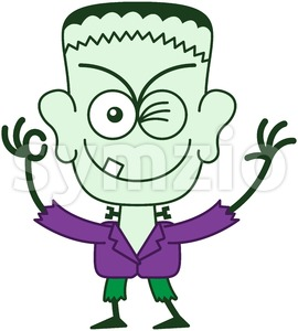 Halloween Franky winking and making an OK sign Stock Vector