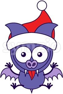 Purple bat wearing Santa hat and welcoming Christmas Stock Vector