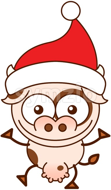 Christmas cow wearing Santa hat and greeting Stock Vector