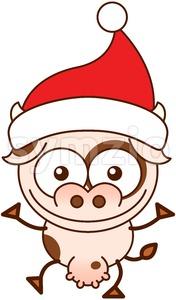 Christmas cow wearing Santa hat and greeting Stock Vector