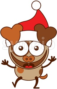 Christmas dog wearing Santa hat and laughing joyfully Stock Vector