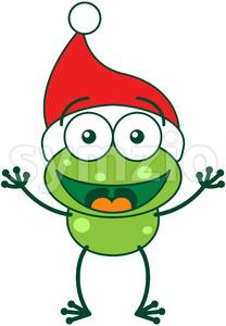 Christmas frog wearing Santa hat and greeting Stock Vector