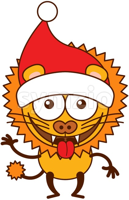 Christmas lion wearing Santa hat and making funny faces Stock Vector