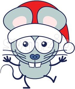 Christmas mouse wearing Santa hat and celebrating big Stock Vector