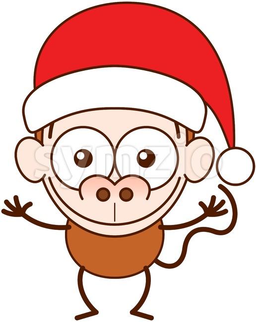 Christmas monkey wearing a Santa hat Stock Vector