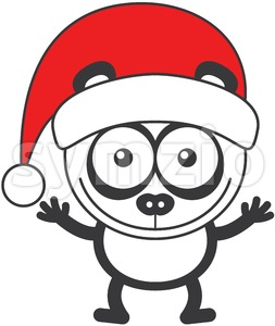 Christmas panda bear wearing a red Santa hat Stock Vector
