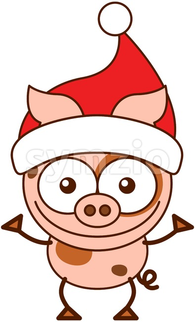 Christmas pig wearing a Santa hat and celebrating Christmas