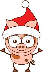 Christmas pig wearing a red Santa hat Stock Vector