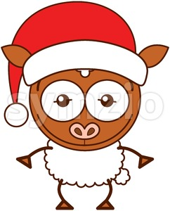 Christmas sheep wearing a Santa hat Stock Vector