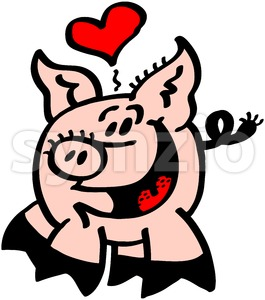 Romantic pig in love showing a heart above its head Stock Vector