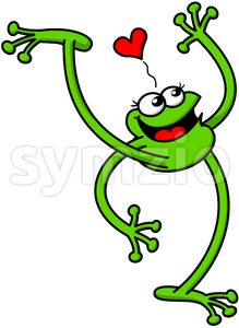 Flirty green frog smiling, waving and falling in love Stock Vector