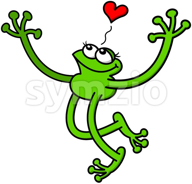 Romantic green frog showing how much in love it feels Stock Vector