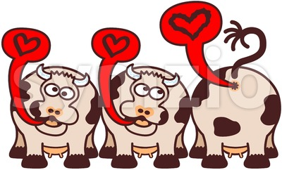 Mischievous cows expressing ideas about love Stock Vector
