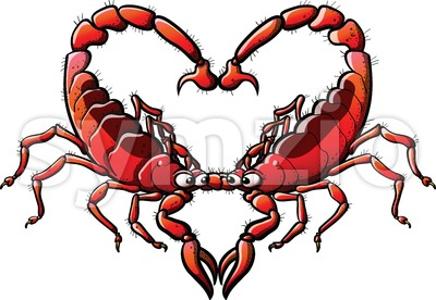 Couple of scorpions in love forming a heart Stock Vector