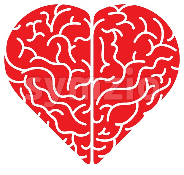 Cartoon red heart shaped brain in top view Stock Vector