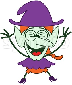 Halloween witch laughing mischievously Stock Vector