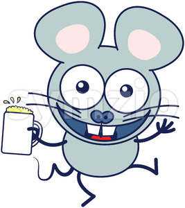 Mouse celebrating animatedly with a mug of beer Stock Vector