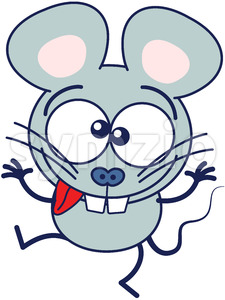 Cool gray mouse making funny faces Stock Vector
